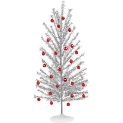 silver tinsel christmas tree with color wheel aluminum trees