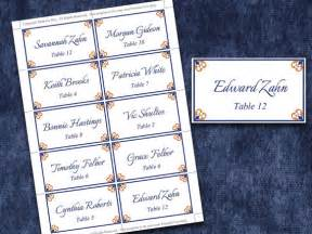 items similar to wedding place cards microsoft word template antique chic navy blue gold