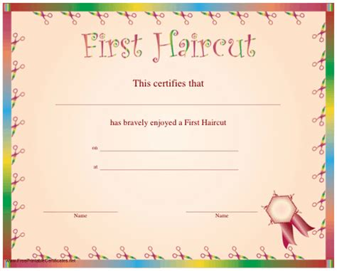 First Haircut Quotes Quotesgram Haircut Certificate Template