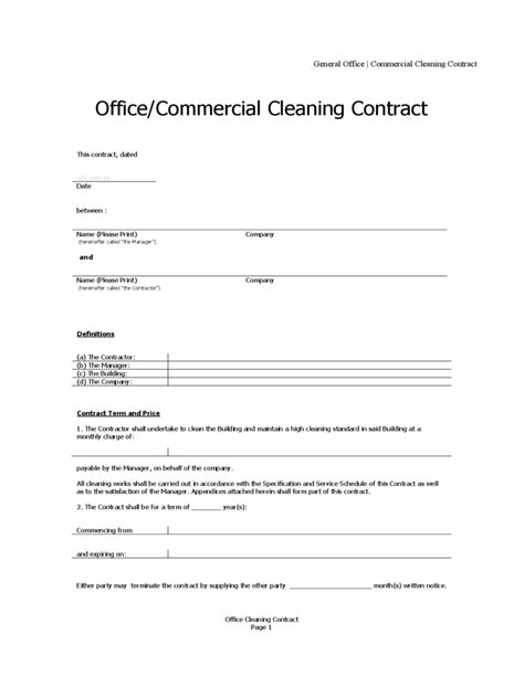cleaning business contract template cleaning contract template 3 free templates in pdf word