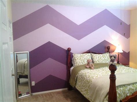 shades of purple for bedrooms big bold chevron wall stripes with just 3 shades of purple