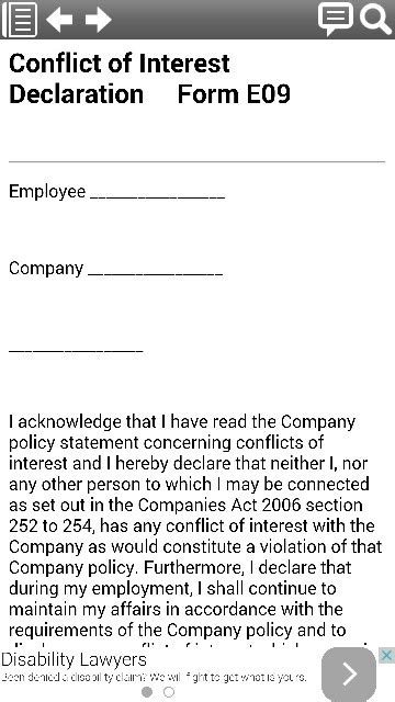 conflict of interest declaration template conflict of interest declaration form template from