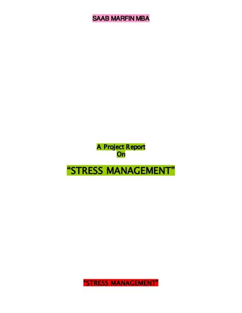 Stress Management Project Report Mba by Stress Management In Icici Bank
