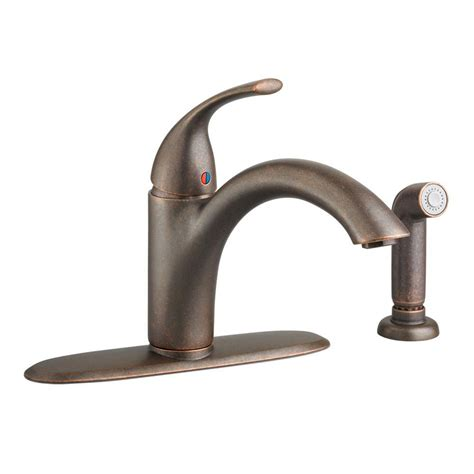 bronze kitchen faucets american standard quince single handle standard kitchen faucet with side sprayer in rubbed