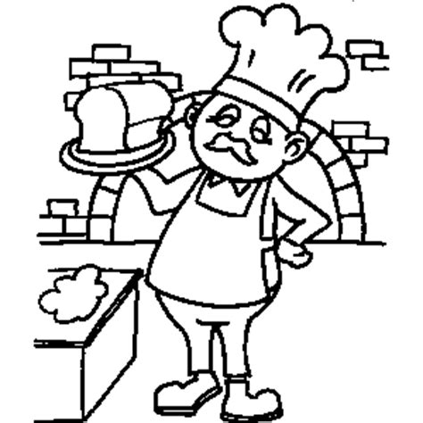 baker with bread coloring sheet