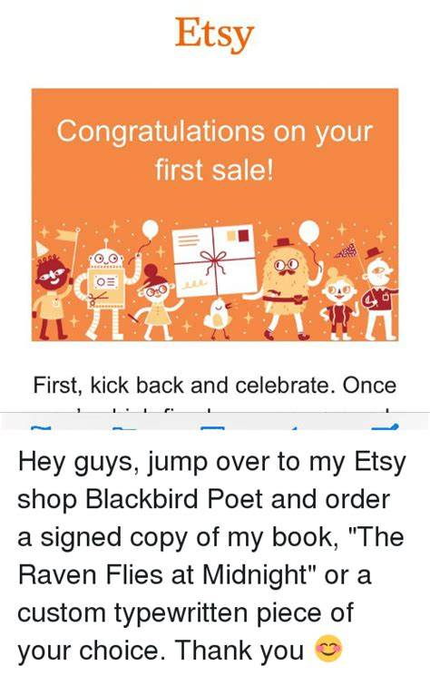 etsy first sale etsy congratulations on your first sale o e first kick