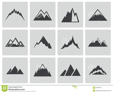 vector black mountains icons set stock images image