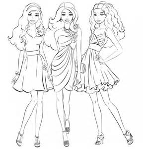 best color for girls barbie and friends going shopping girls coloring page