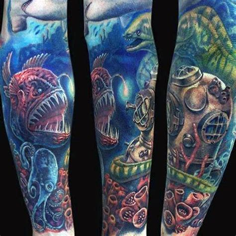 ocean themed tattoos 40 sleeve tattoos for underwater ink design ideas