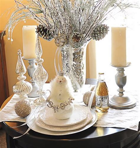 silver branches become centerpieces jingle belles