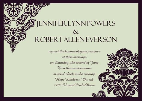 affordable formal damask wedding invites ewi289 as low as