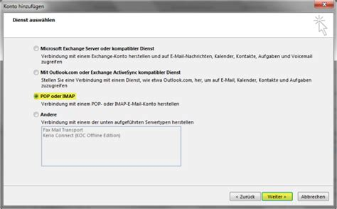mail konto einrichten outlook  knowledgebase