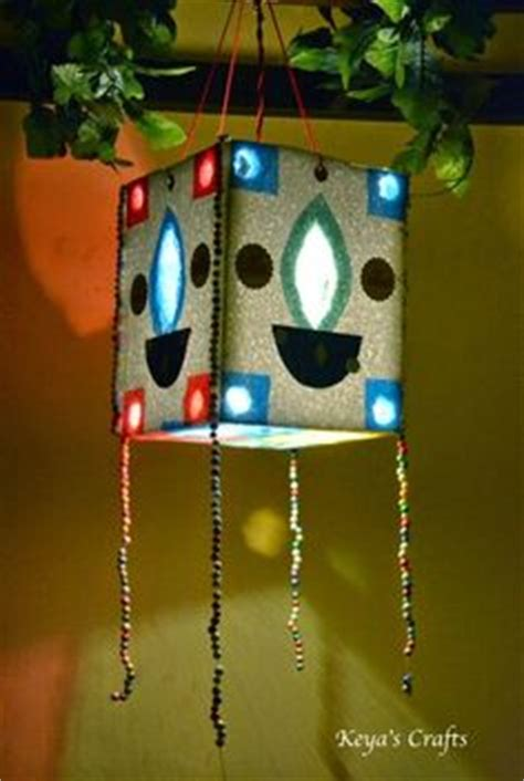 Handmade Diwali Lantern - akash kandil made from thermocol and gelatine coloured