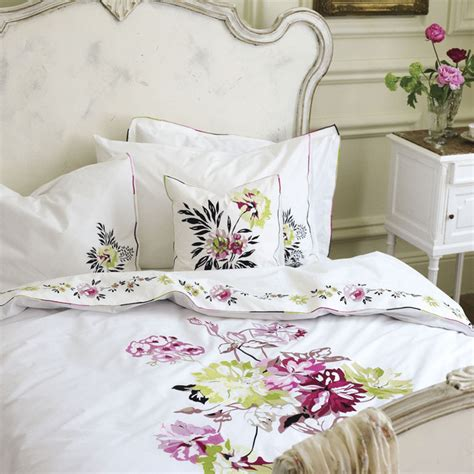 Pink Floral Bedding by Portier White Bedding With Pink Floral Motif
