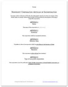 nonprofit articles of incorporation template articles of incorporation free sle template form