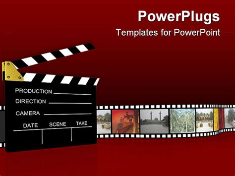 Templates Powerpoint Cinema | powerpoint template film projector clapboard with vintage
