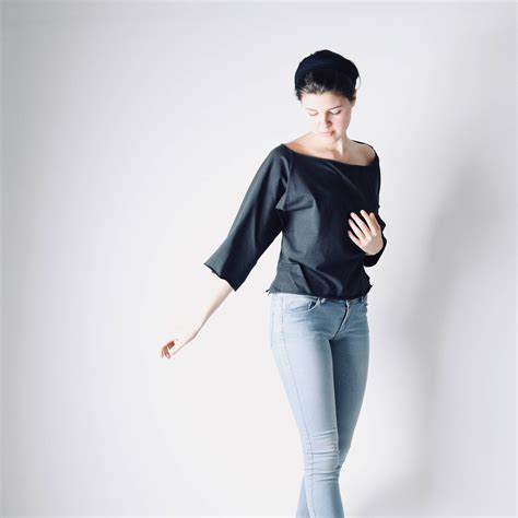 boat neck long sleeve tops boat neck top with elbow sleeves 3 4 sleeve blouse by