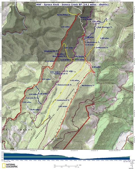 Spruce Knob Trail Map by Spruce Knob Seneca Creek Virginia Trail Guide