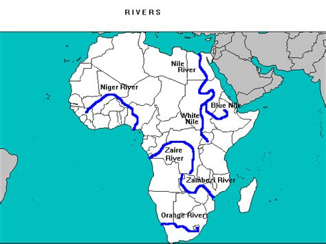 africa map rivers lakes mountains africa world geography upscfever