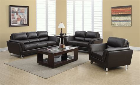 Cheap Leather Sofa Sets Living Room Monarch Specialties Brown Bonded Leather 3 Living Room Set Efurniture Mart Home