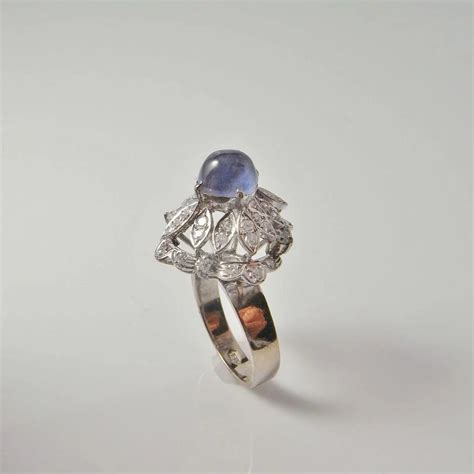 881ct Top Earth Mined Cabochon Blue Color Sapphire Burma deco cabochon sapphire ring engagement ring
