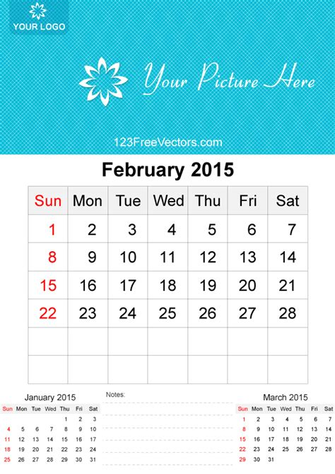 calendar template for february 2015 february 2015 calendar template vector free 123freevectors