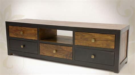 grand meuble tv en palissandre massif bicolore avec 5 tiroirs