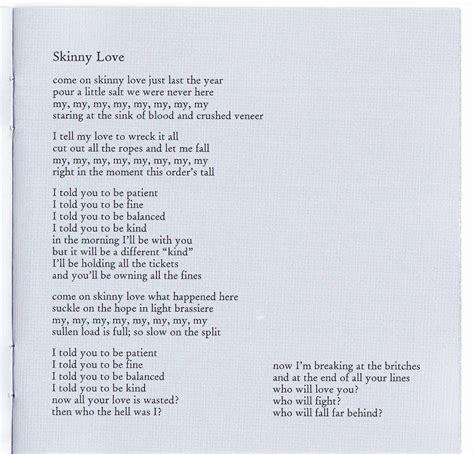 small boat lyrics skinny love lyrics favorite song