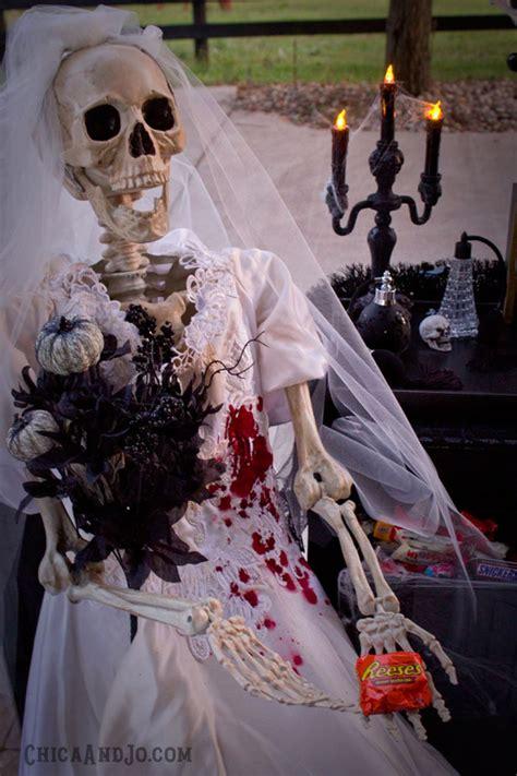 skeleton bride halloween trick  treat station chica  jo