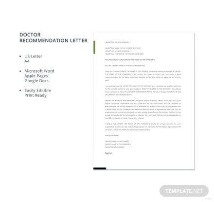 doctor recommendation letter letters