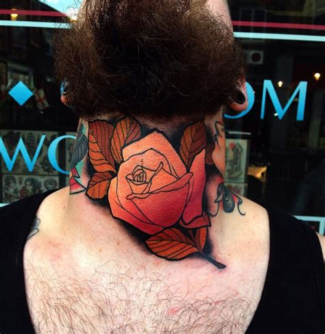 rose throat tattoo orange throat best design ideas