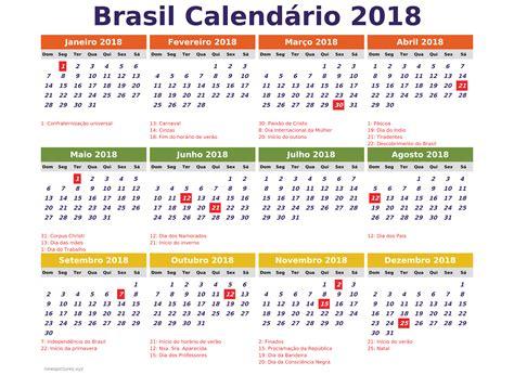 Calendario 2018 Para Imprimir Feriados Brasil 2018 Calendario Para Imprimir Feriados