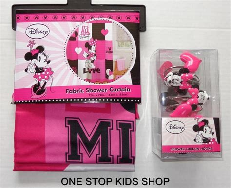 Minnie Mouse Bathroom Minnie Mouse Fabric Shower Curtain Or Hooks Disney Bathroom Decor Ebay