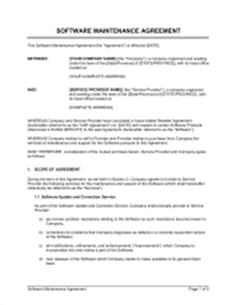 Annual Maintenance Contract Sle Letter Software Maintenance Agreement Template Sle Form Biztree