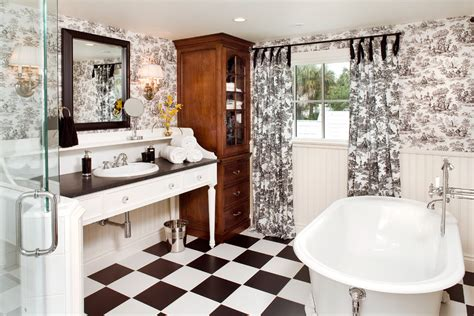 black and white toile wallpaper bathroom sumptuous toile curtains in kitchen traditional with