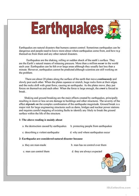 reading comprehension test advanced pdf earthquakes worksheet free esl printable worksheets made
