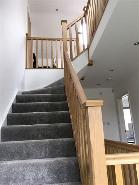 oak stair banister this is a pine stairs with oak handrails oak chamfer