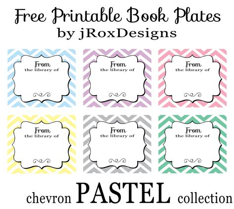 free printable bookplates templates personalized your library with free printable chevron book