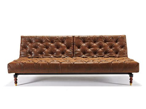 vintage brown leather ottoman retro traditional style tufted sofa bed in vintage brown