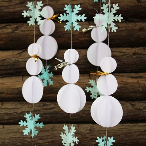 winter decorations diy snowman decorations snowflake garland winter decor 3d paper crafts diy baby room decor in