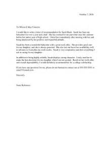 nanny reference template nanny letter of recommendation letter of recommendation