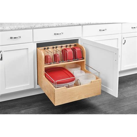 Rev A Shelf 18 88 In H X 20 5 In W X 21 56 In D Wood Storage Containers For Kitchen Cabinets