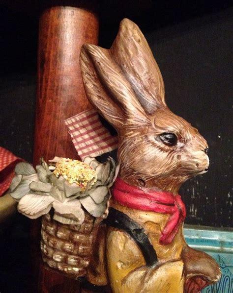 Vintage German Papier Mache Rabbit - papier mache bunny cast using an antique chocolate mold