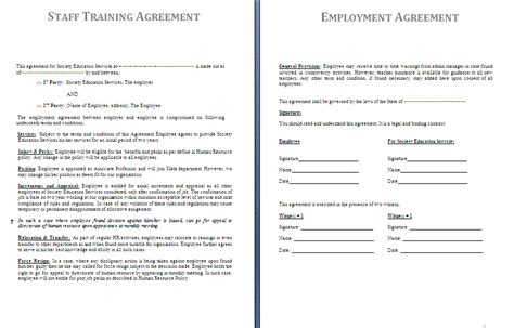 Agreement Letter For Staff Staff Agreement Template Free Agreement Templates