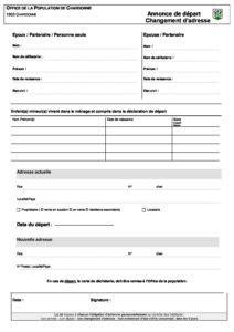 Formulaire pour un changement d'adresse | Chardonne.ch