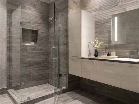 Modern Bathroom Floor Tile Townsend Modern Bathroom San Francisco Ca Gray White Glass Enclosed Shower Wallpaper Wall