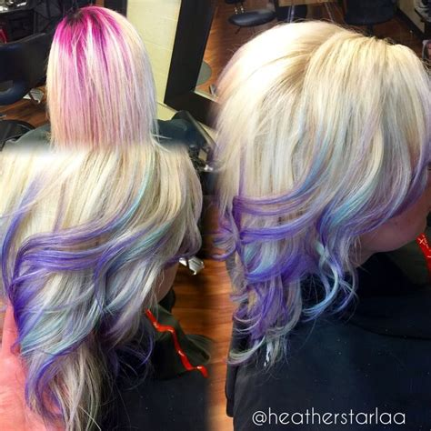 platinum bob with pastel highlights platinum to lavender ombre with pastel blue highlights