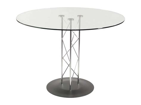 Glass Dining Table Base Pedestal Trave Tempered Glass Dining Table With Chrome