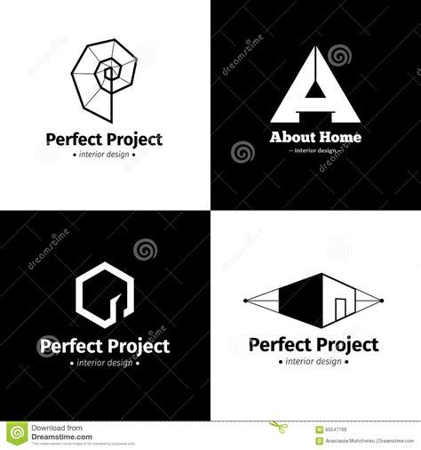 interior design logo vector free vector set of four modern minimalistic interior design studio logos black and white creative