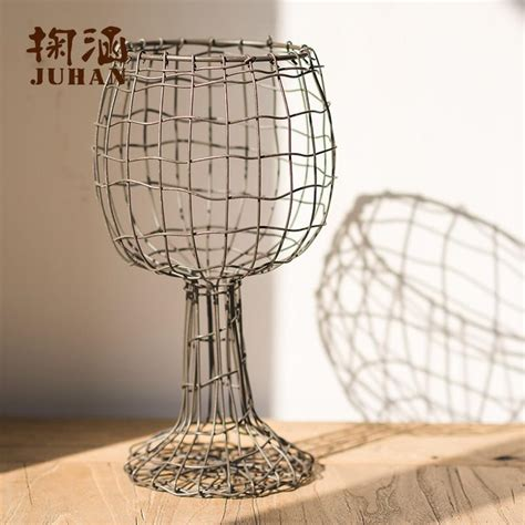 Wire Vases by Vintage Industrial Style Woven Wire Vase Goblet Arts Wire Flower Flower Arrangement